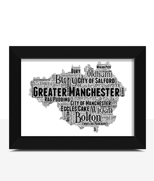 Personalised Greater Manchester Word Art Map Travel