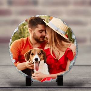 Personalised Round Rock Photo Slate – With Stand Anniversary Gifts