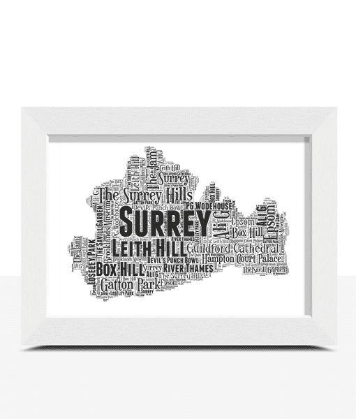 Personalised Surrey Word Art Map Travel