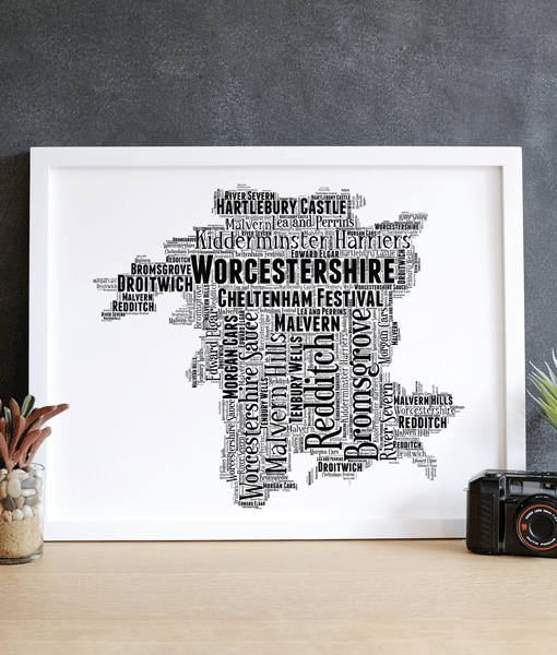Personalised Worcestershire Word Art Map Travel