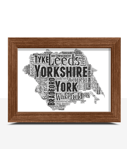 Personalised Yorkshire Word Art Map Travel