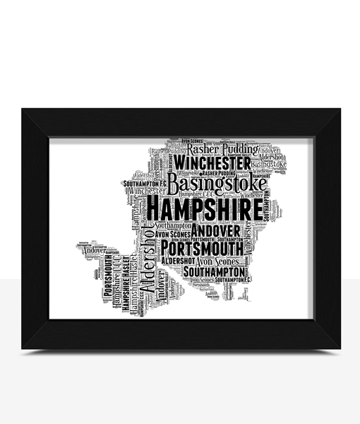Personalised Hampshire Word Art Map Travel
