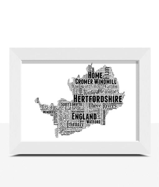 Personalised Hertfordshire Word Art Map Travel