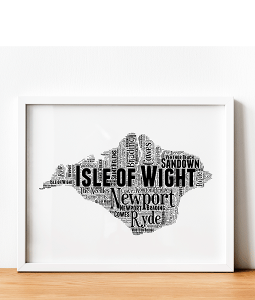 Personalised Isle of Wight – Word Art Map Travel