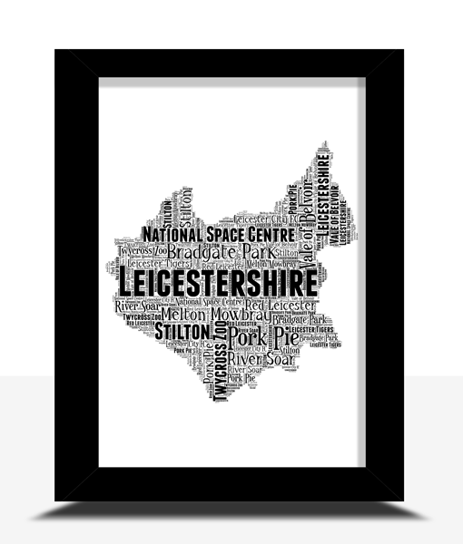 Personalised Leicestershire Word Art Map Travel