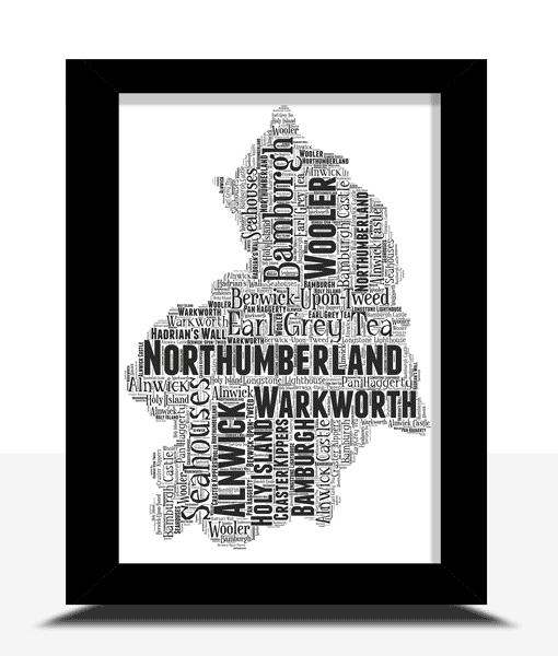 Personalised Northumberland Word Art Map Travel