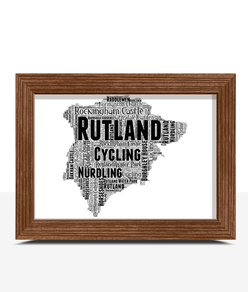 Personalised Rutland Word Art Map Travel