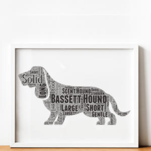 Personalised Bassett Hound Dog – Word Art Gift Animal Prints
