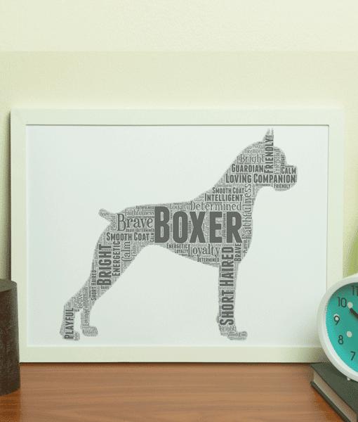 Personalised Boxer Dog – Word Art Animal Prints