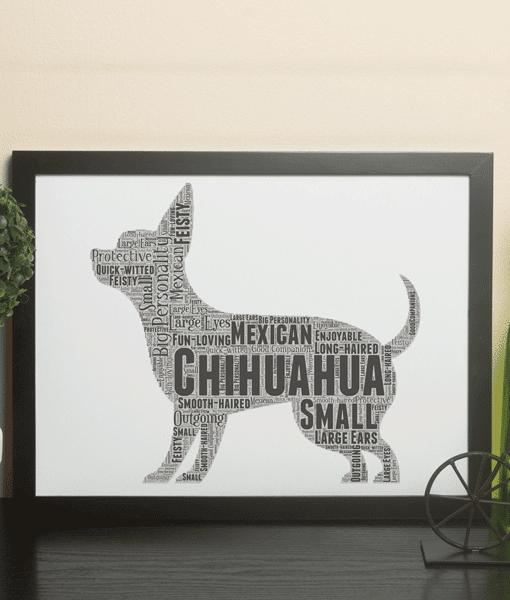 Personalised Chihuahua Dog – Word Art Animal Prints