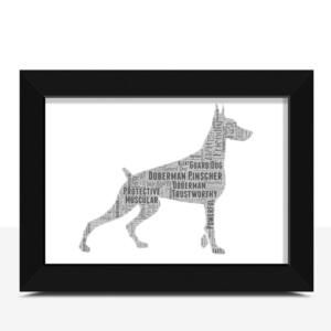 Personalised Doberman Dog – Word Art Animal Prints