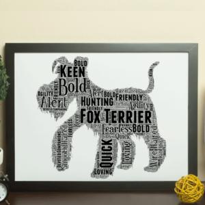 Personalised Fox Terrier Dog – Word Art Animal Prints