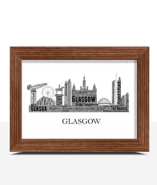 Personalised Glasgow Skyline Word Art Travel