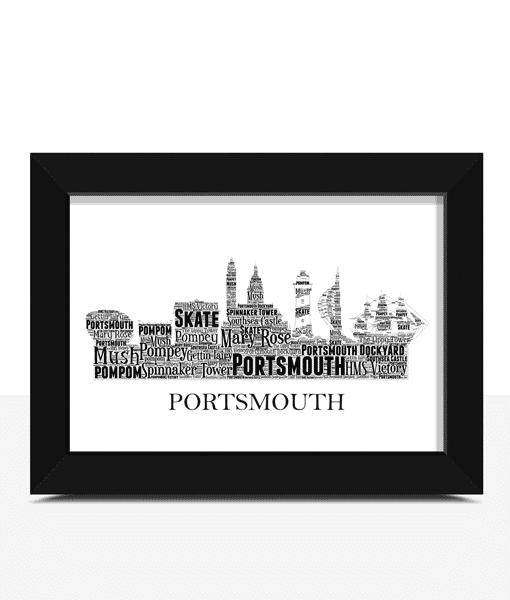 Personalised Portsmouth Skyline Word Art Travel