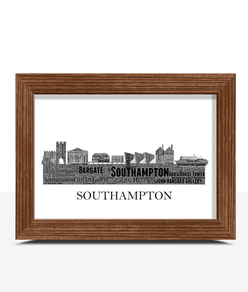 Personalised Southampton Skyline Word Art City Skyline Prints