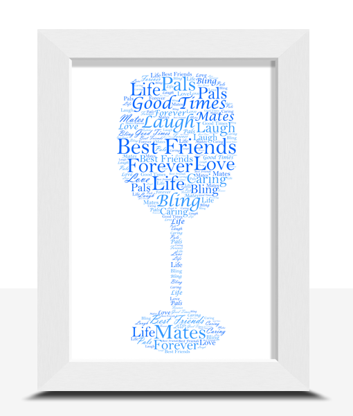 Personalised Wine Glass Word Art Print Food And Drink