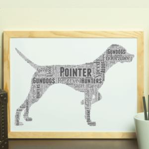 Personalised Pointer Dog – Word Art Animal Prints