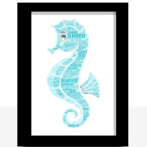 Seahorse Word Art Print Animal Prints