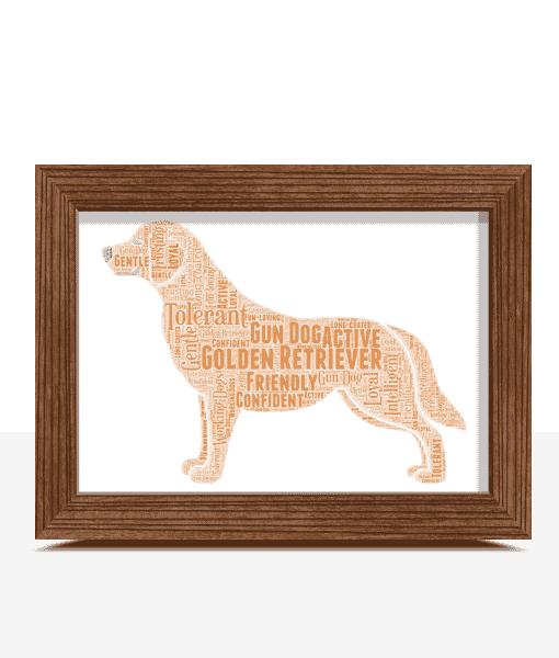 Personalised Golden Retriever Dog – Word Art Animal Prints