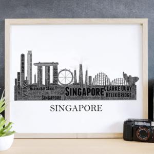 Personalised Singapore Skyline Word Art City Skyline Prints